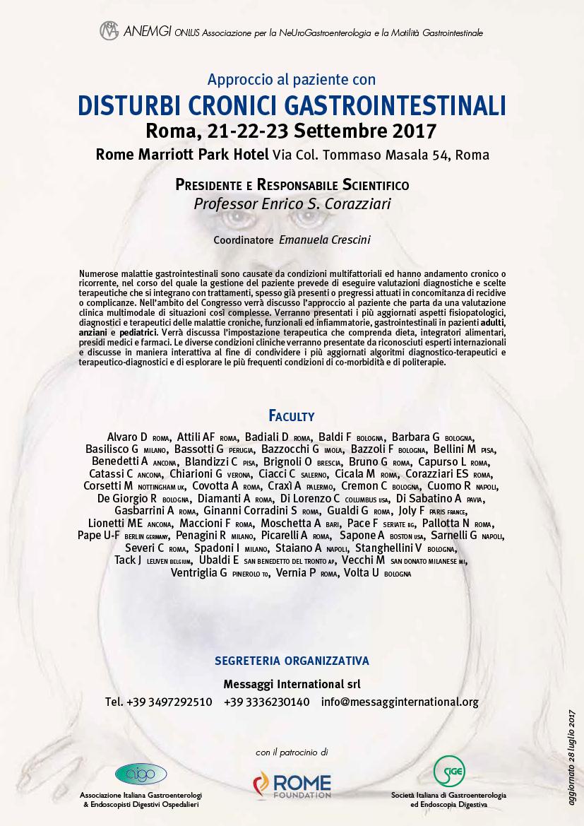 Congresso Disturbi Cronici Gastrointestinali Roma 2017